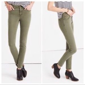 """Madewell Olive 9"""" High Rise Skinny Jeans Size 29"""